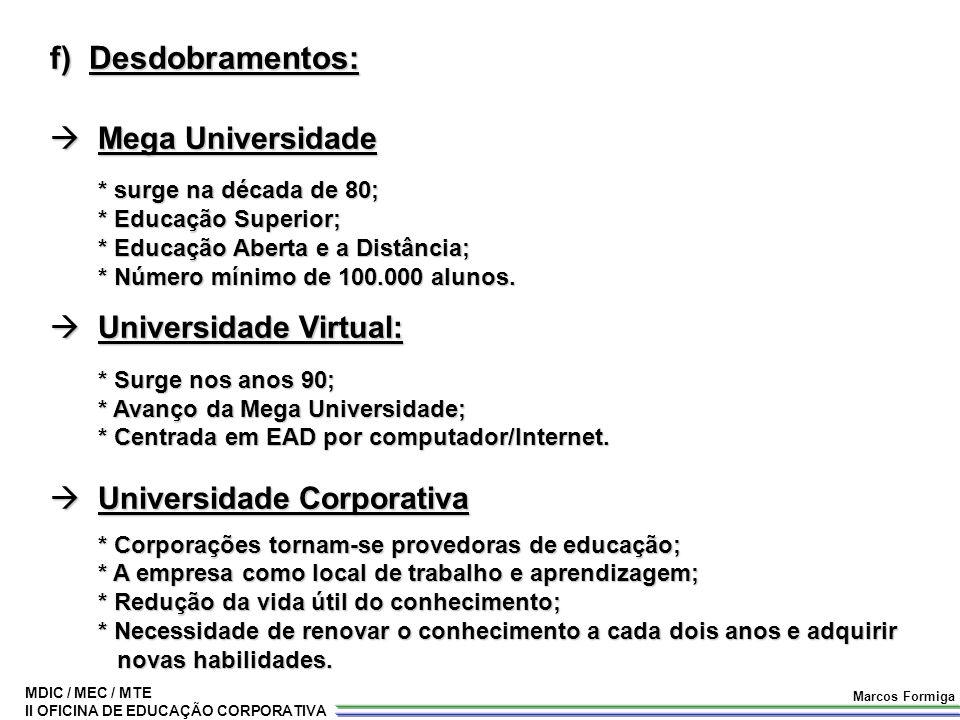 f) Desdobramentos: Mega Universidade Universidade Virtual: