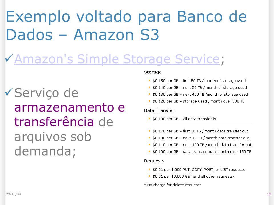 Exemplo voltado para Banco de Dados – Amazon S3