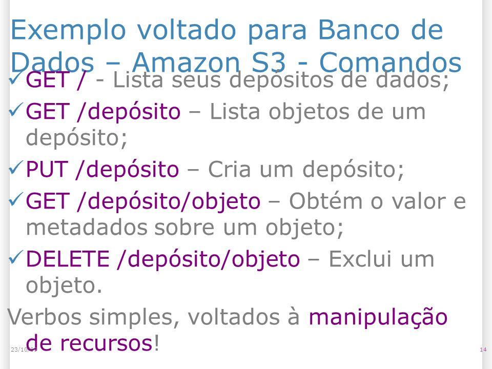 Exemplo voltado para Banco de Dados – Amazon S3 - Comandos