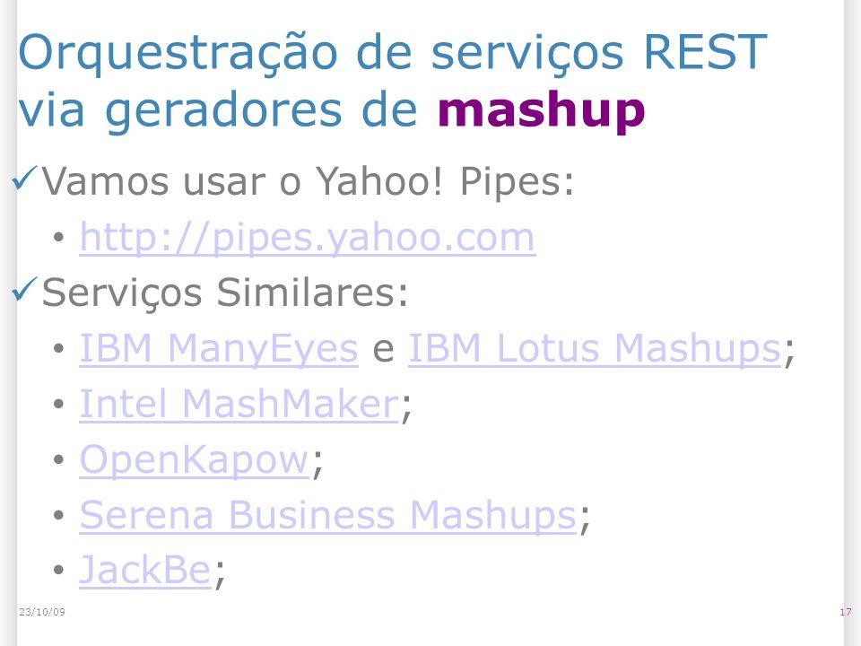Orquestração de serviços REST via geradores de mashup