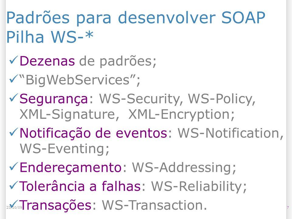 Padrões para desenvolver SOAP Pilha WS-*