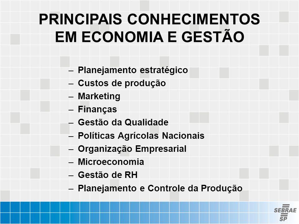 PRINCIPAIS CONHECIMENTOS EM ECONOMIA E GESTÃO