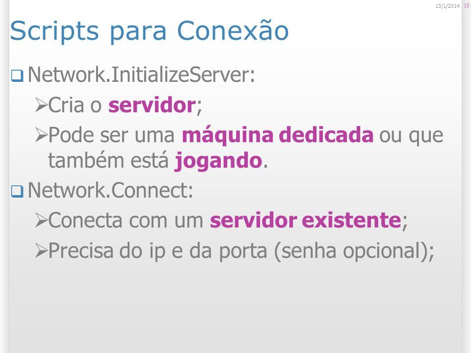 Scripts para Conexão Network.InitializeServer: Cria o servidor;