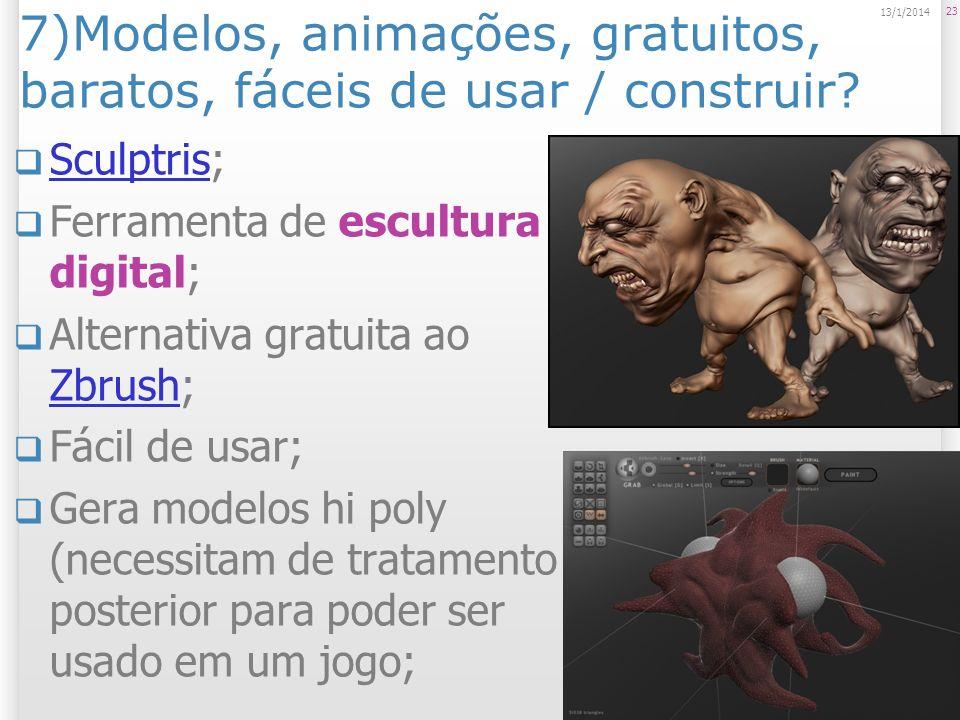 7)Modelos, animações, gratuitos, baratos, fáceis de usar / construir