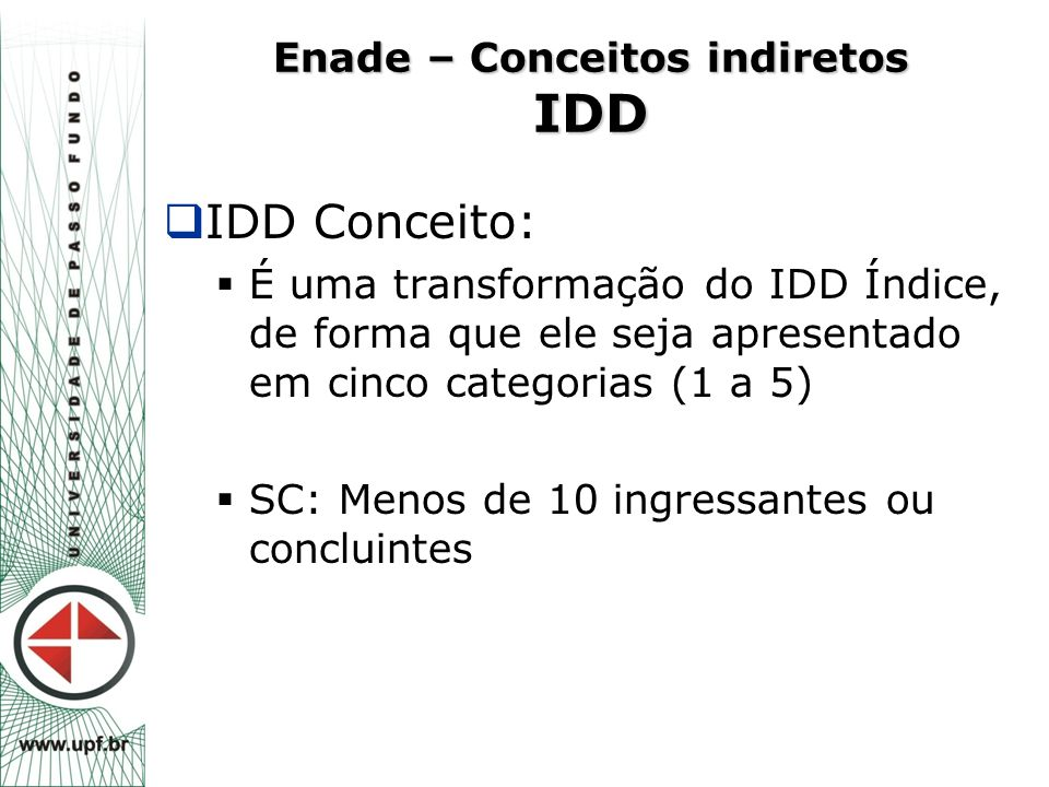 Enade – Conceitos indiretos IDD