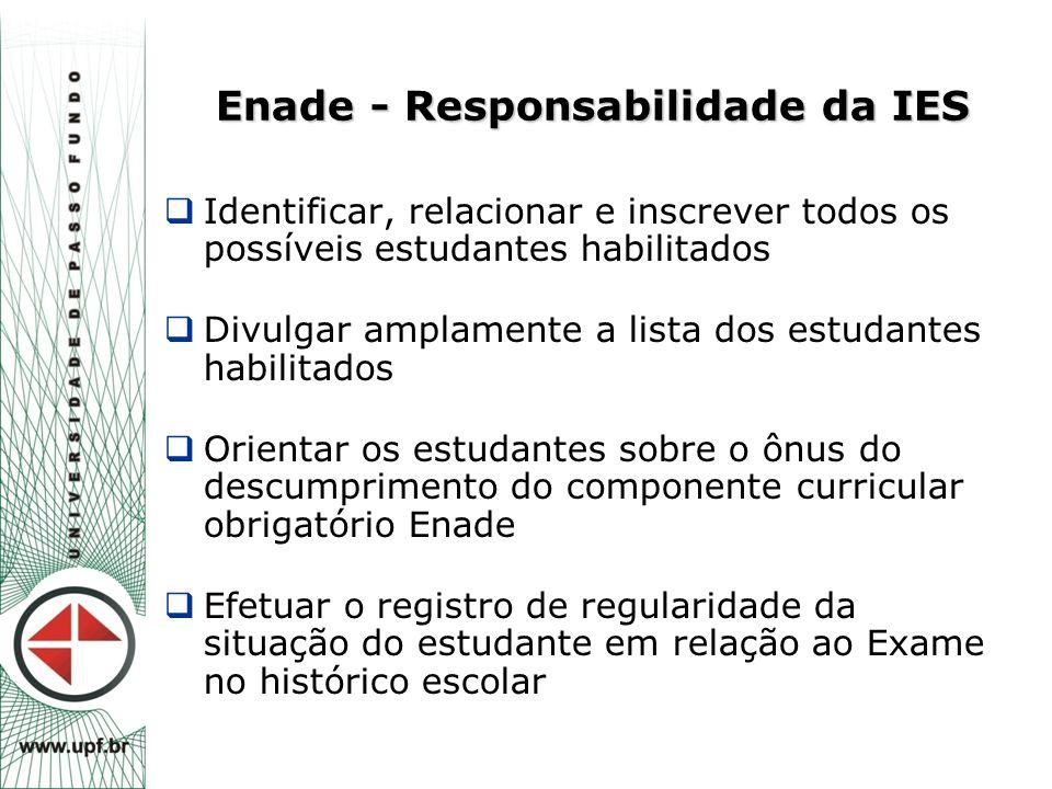 Enade - Responsabilidade da IES