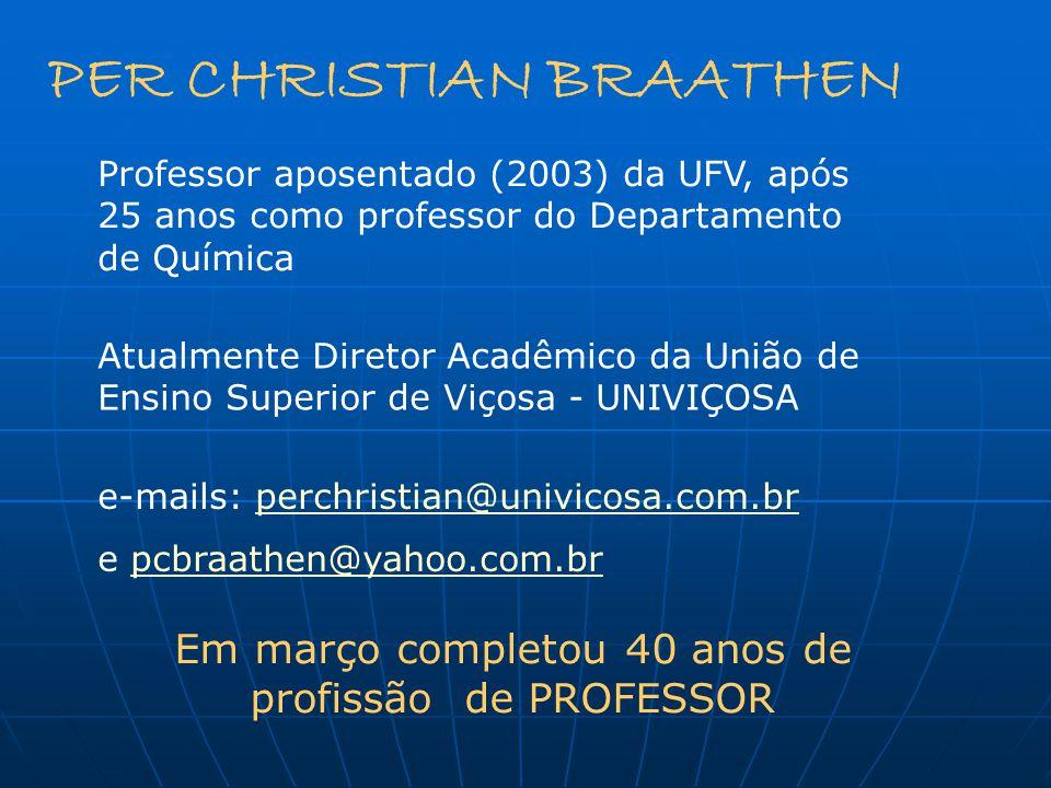 Em março completou 40 anos de profissão de PROFESSOR