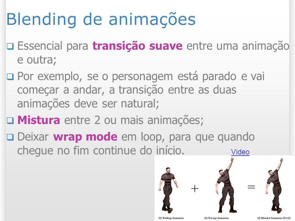 Blending de animações Essencial para transição suave entre uma animação e outra;