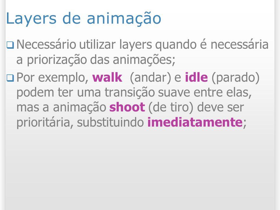 Layers de animação Necessário utilizar layers quando é necessária a priorização das animações;