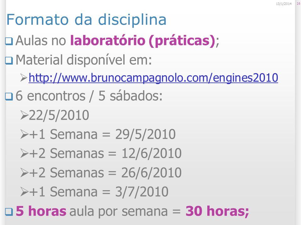 Formato da disciplina Aulas no laboratório (práticas);