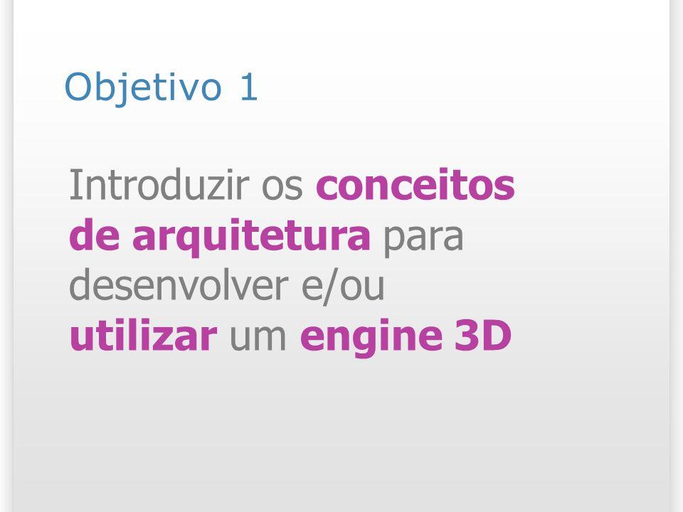Objetivo 1 Introduzir os conceitos de arquitetura para desenvolver e/ou utilizar um engine 3D