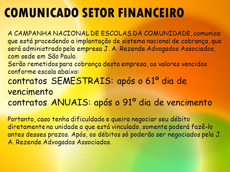 COMUNICADO SETOR FINANCEIRO