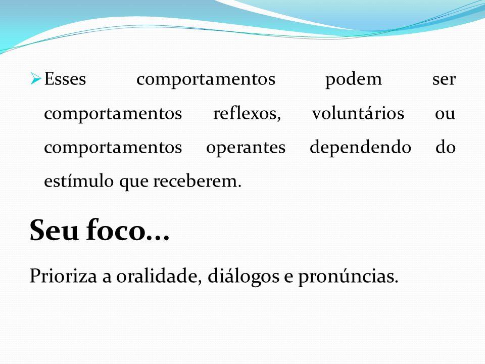 Seu foco... Prioriza a oralidade, diálogos e pronúncias.