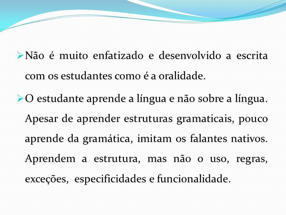 Não é muito enfatizado e desenvolvido a escrita com os estudantes como é a oralidade.