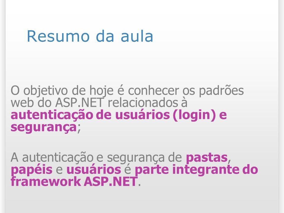Resumo da aula O objetivo de hoje é conhecer os padrões web do ASP.NET relacionados à autenticação de usuários (login) e segurança;