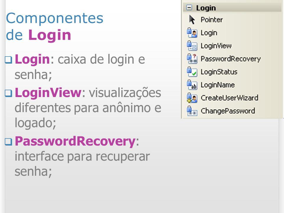 Componentes de Login Login: caixa de login e senha;