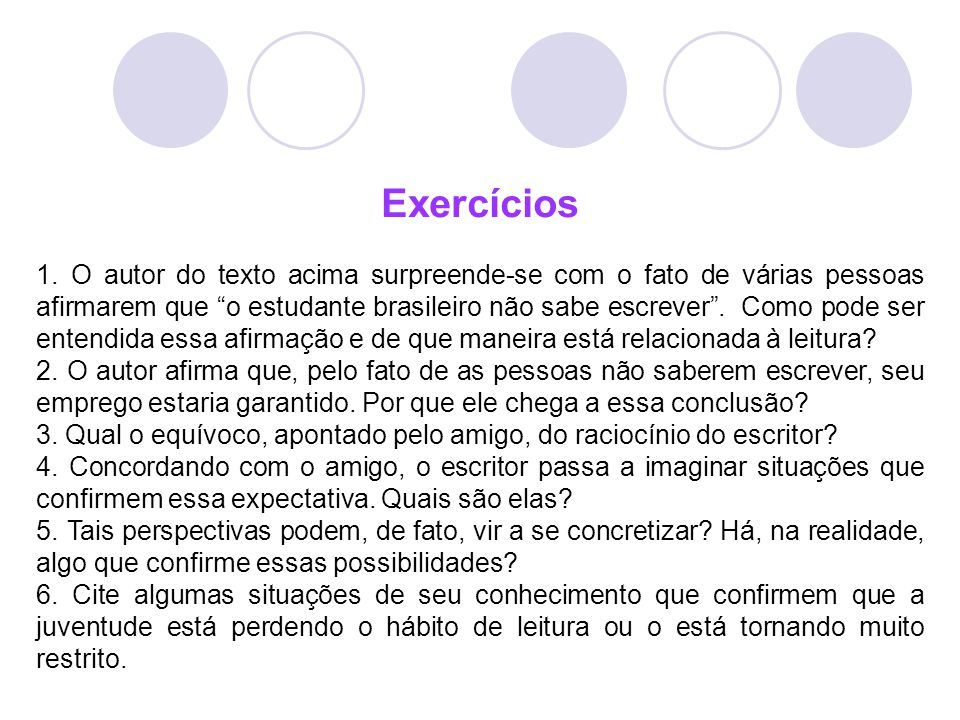 Exercícios.