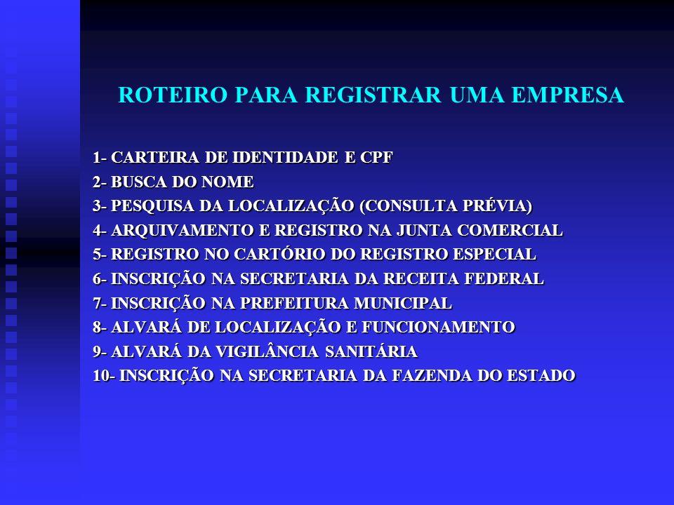 ROTEIRO PARA REGISTRAR UMA EMPRESA