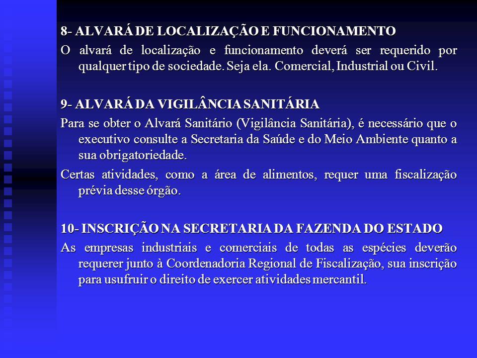 8- ALVARÁ DE LOCALIZAÇÃO E FUNCIONAMENTO