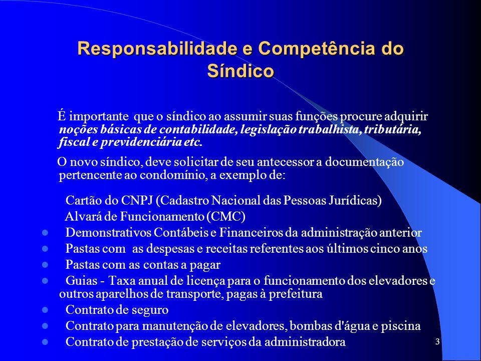 Responsabilidade e Competência do Síndico