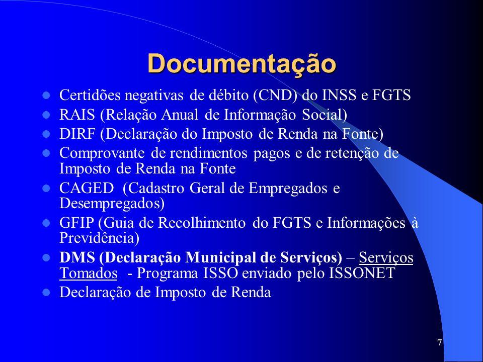 Documentação Certidões negativas de débito (CND) do INSS e FGTS