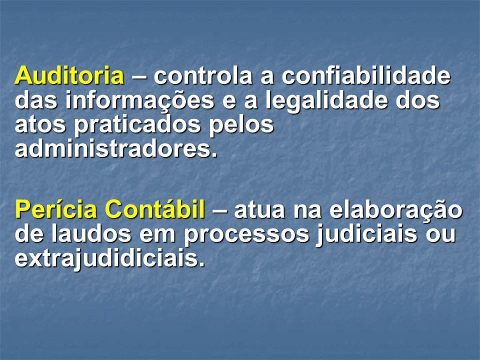 Auditoria – controla a confiabilidade das informações e a legalidade dos atos praticados pelos administradores.