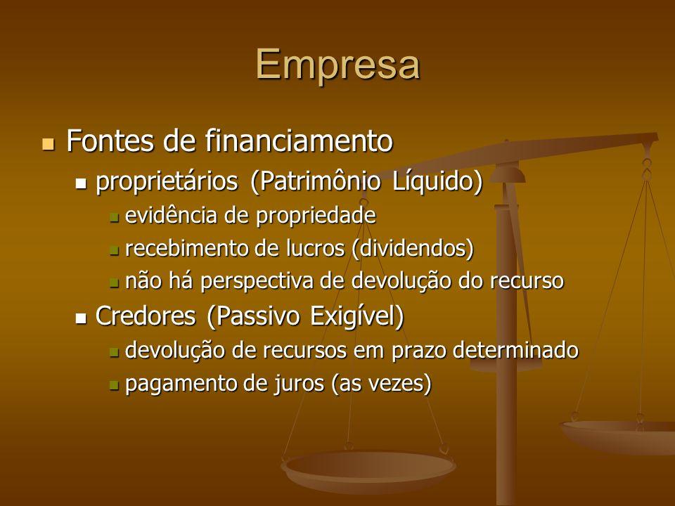 Empresa Fontes de financiamento proprietários (Patrimônio Líquido)