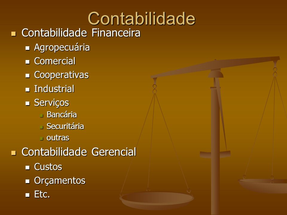 Contabilidade Contabilidade Financeira Contabilidade Gerencial