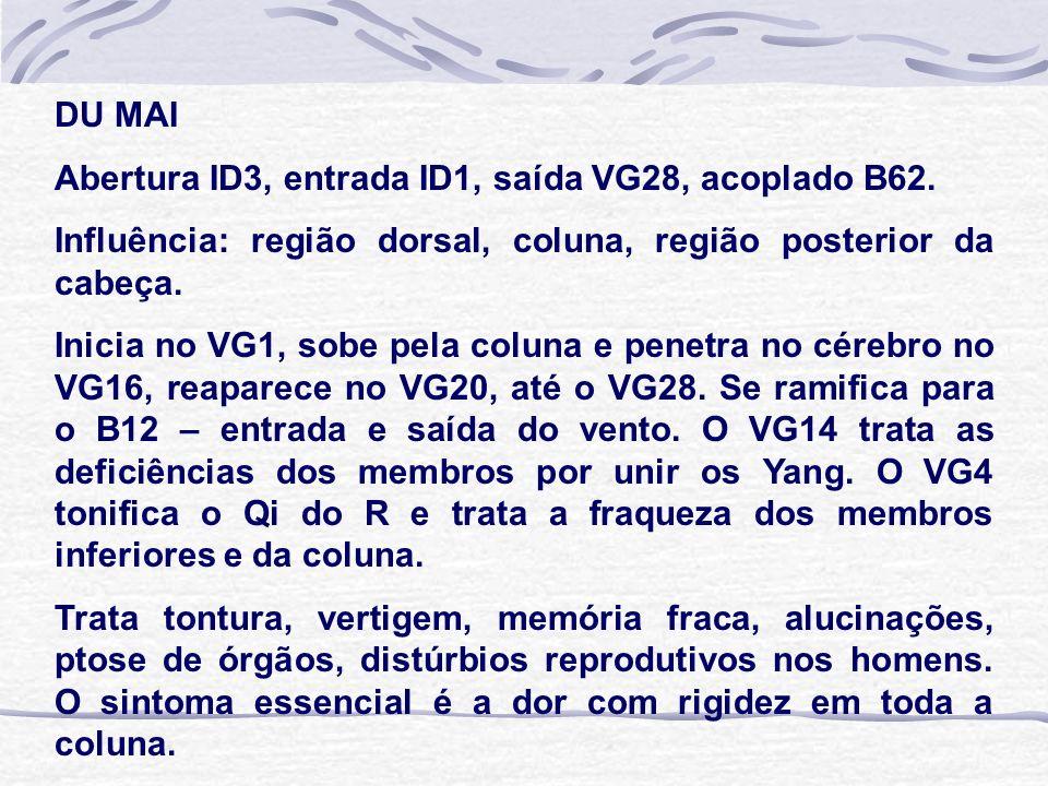 DU MAI Abertura ID3, entrada ID1, saída VG28, acoplado B62. Influência: região dorsal, coluna, região posterior da cabeça.