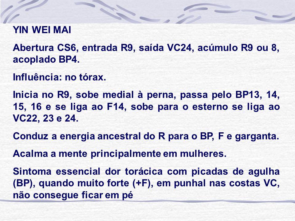 YIN WEI MAI Abertura CS6, entrada R9, saída VC24, acúmulo R9 ou 8, acoplado BP4. Influência: no tórax.