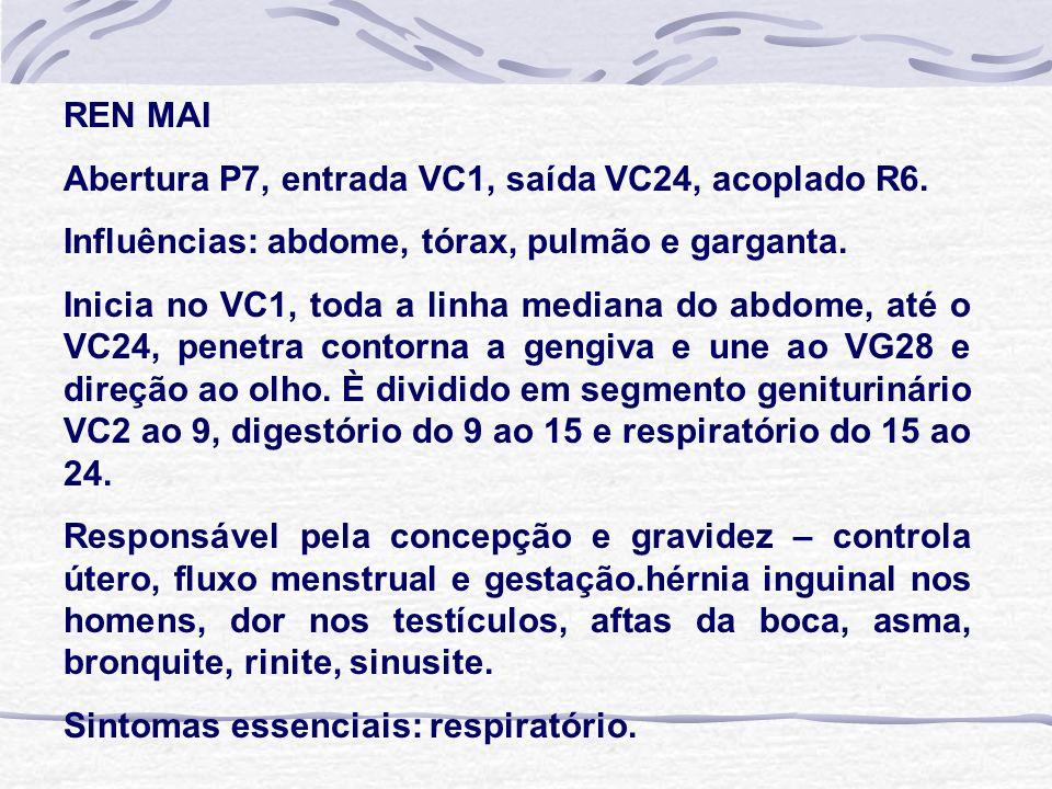 REN MAI Abertura P7, entrada VC1, saída VC24, acoplado R6. Influências: abdome, tórax, pulmão e garganta.