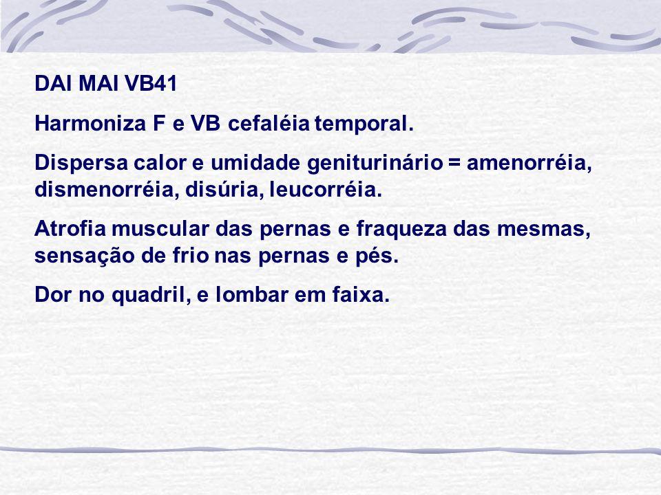 DAI MAI VB41 Harmoniza F e VB cefaléia temporal. Dispersa calor e umidade geniturinário = amenorréia, dismenorréia, disúria, leucorréia.