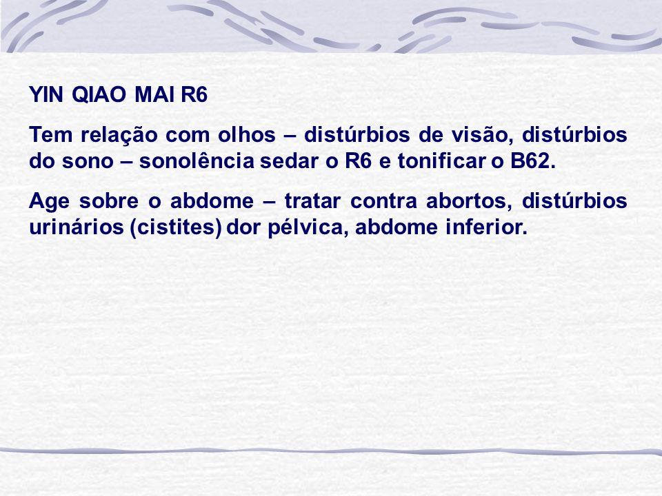 YIN QIAO MAI R6 Tem relação com olhos – distúrbios de visão, distúrbios do sono – sonolência sedar o R6 e tonificar o B62.
