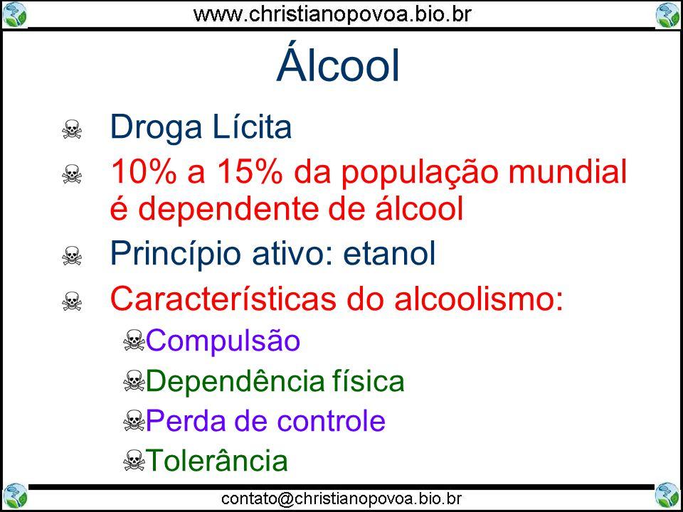 Álcool Droga Lícita. 10% a 15% da população mundial é dependente de álcool. Princípio ativo: etanol.