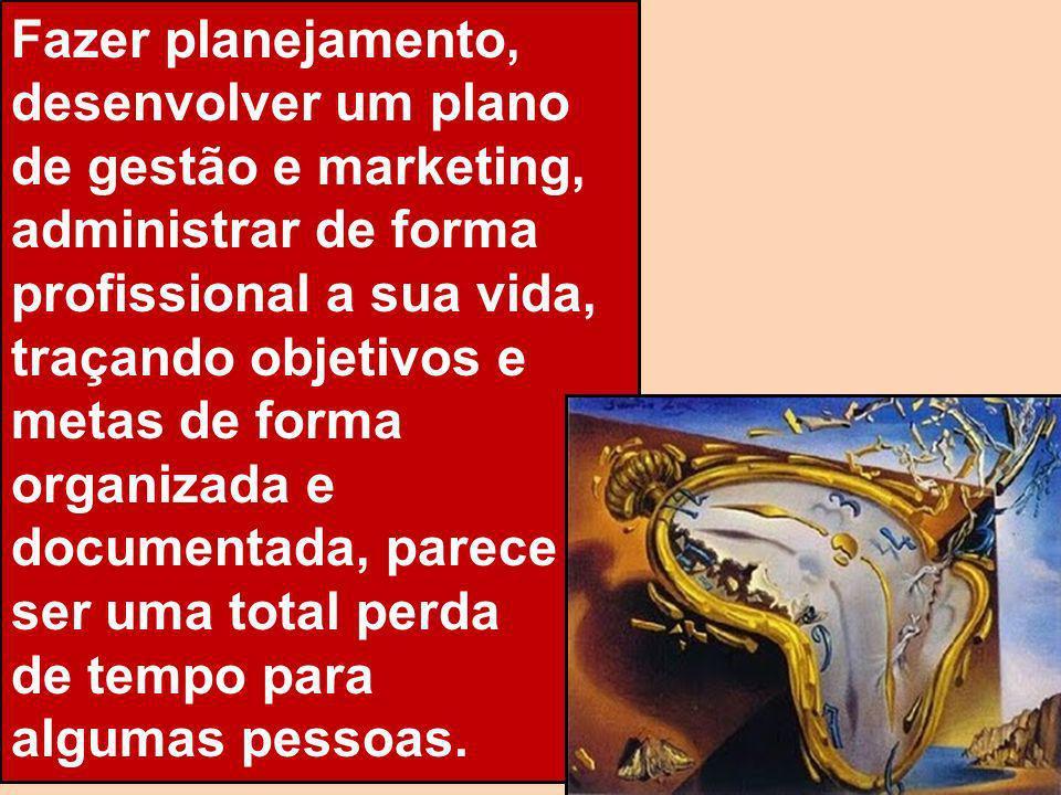 Fazer planejamento, desenvolver um plano de gestão e marketing, administrar de forma profissional a sua vida, traçando objetivos e metas de forma organizada e documentada, parece ser uma total perda
