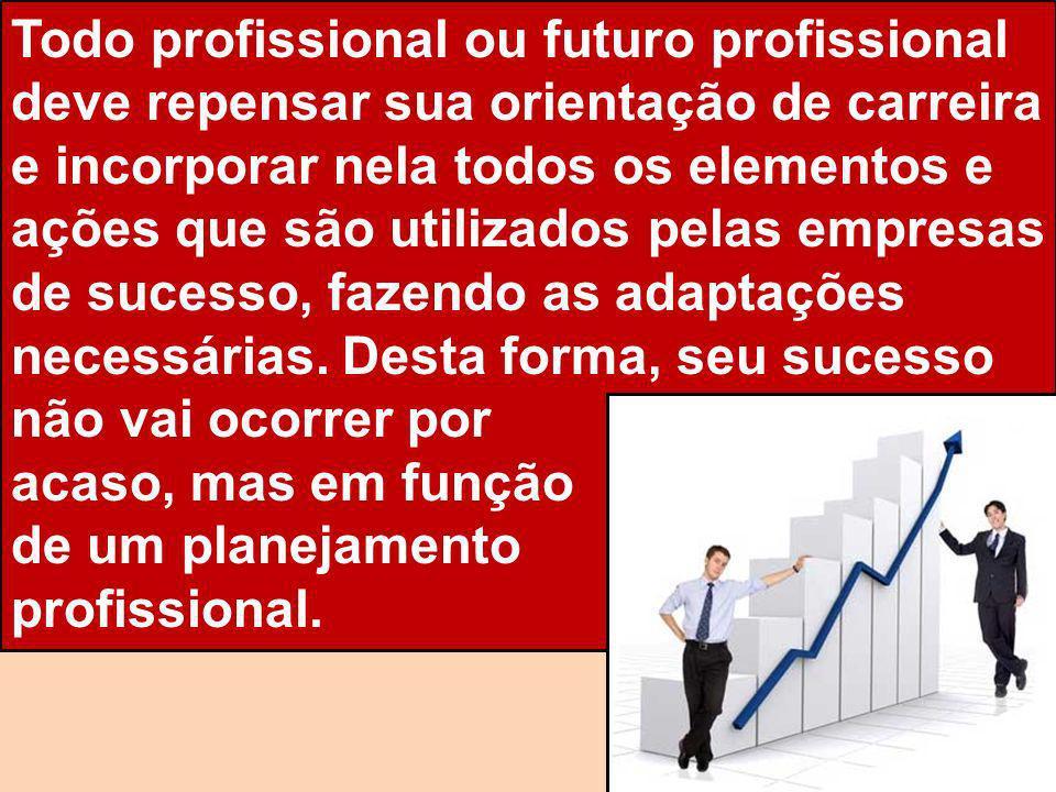 Todo profissional ou futuro profissional deve repensar sua orientação de carreira e incorporar nela todos os elementos e ações que são utilizados pelas empresas de sucesso, fazendo as adaptações necessárias. Desta forma, seu sucesso não vai ocorrer por