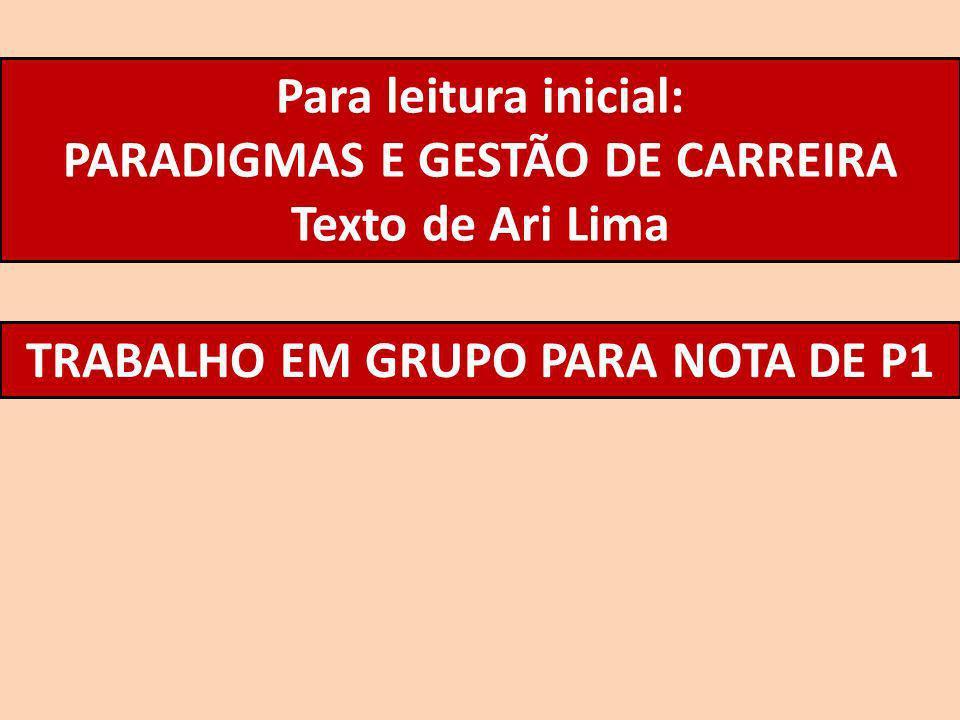 PARADIGMAS E GESTÃO DE CARREIRA TRABALHO EM GRUPO PARA NOTA DE P1