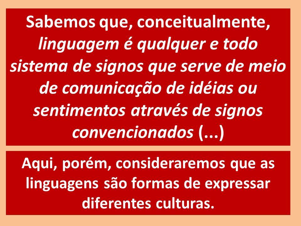 Sabemos que, conceitualmente, linguagem é qualquer e todo sistema de signos que serve de meio de comunicação de idéias ou sentimentos através de signos convencionados (...)