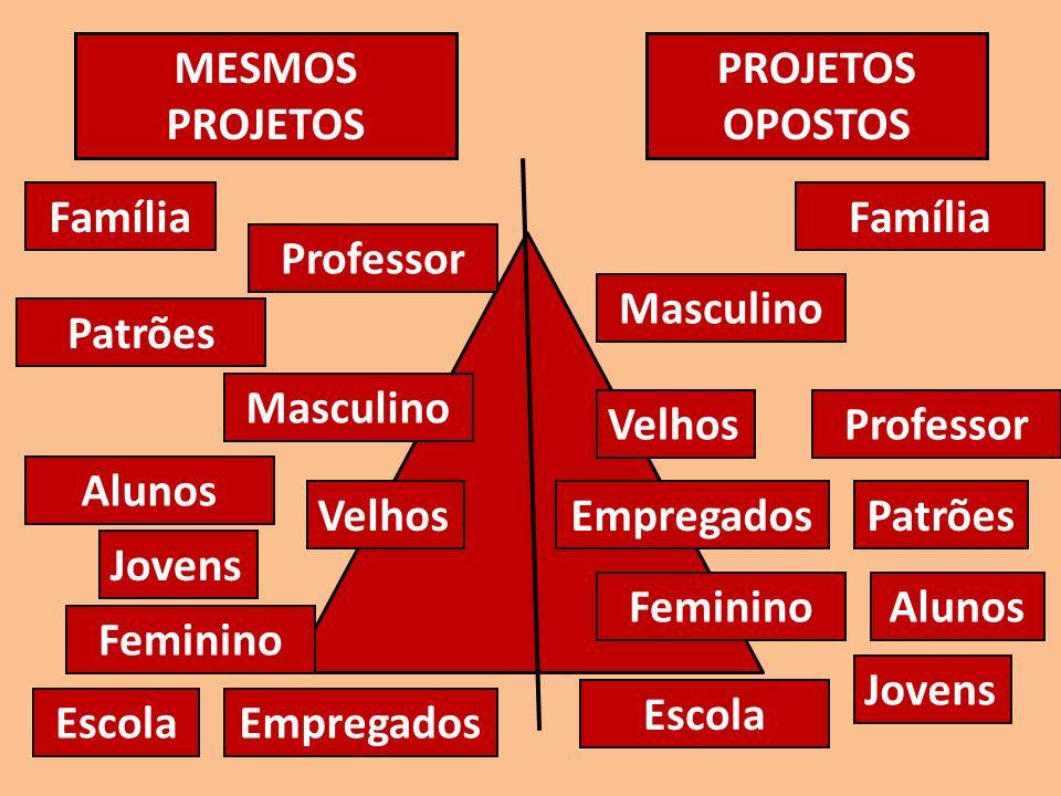 MESMOS PROJETOS PROJETOS OPOSTOS. Família. Família. Professor. Masculino. Patrões. Masculino.