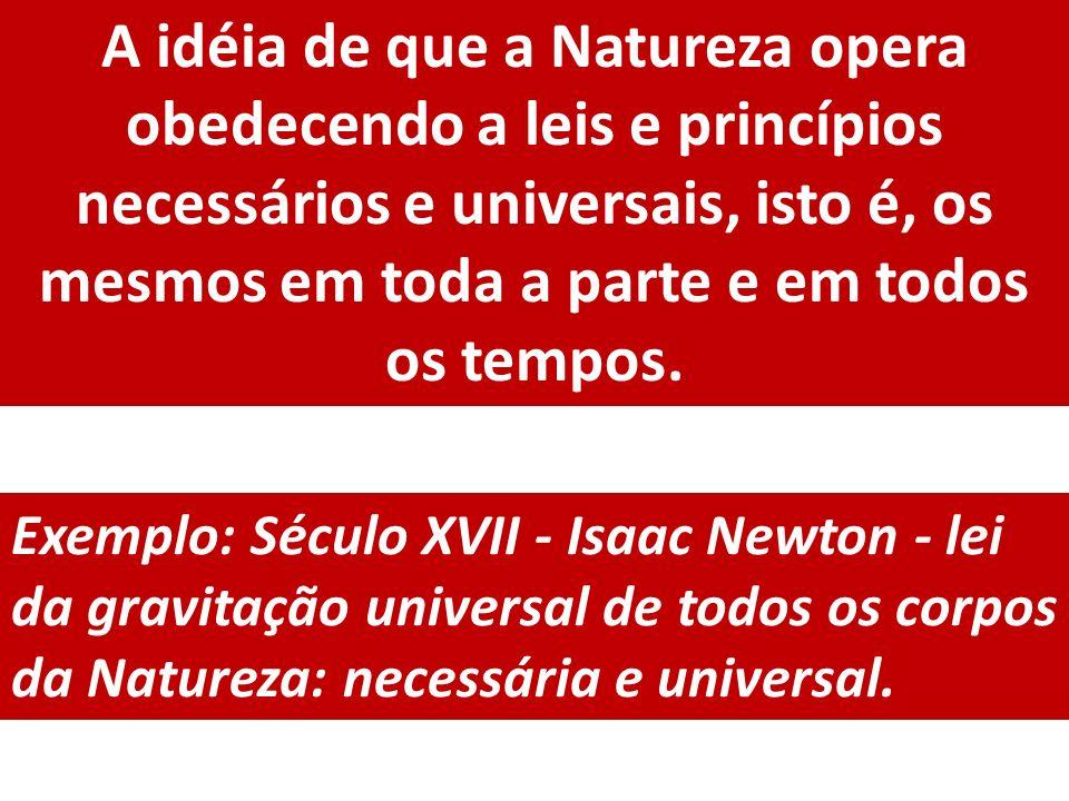 A idéia de que a Natureza opera obedecendo a leis e princípios necessários e universais, isto é, os mesmos em toda a parte e em todos os tempos.