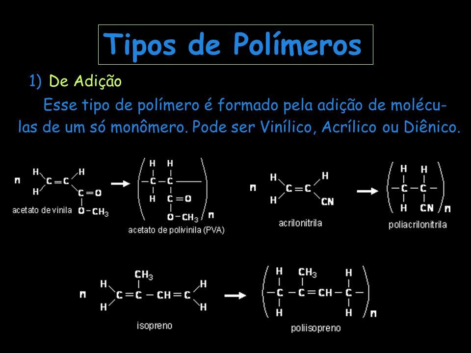 Tipos de Polímeros 1) De Adição.