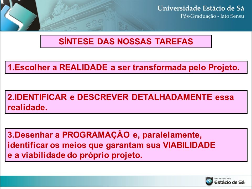 SÍNTESE DAS NOSSAS TAREFAS