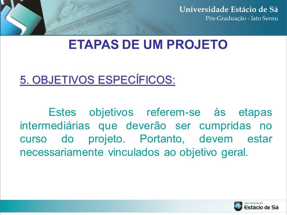 ETAPAS DE UM PROJETO 5. OBJETIVOS ESPECÍFICOS: