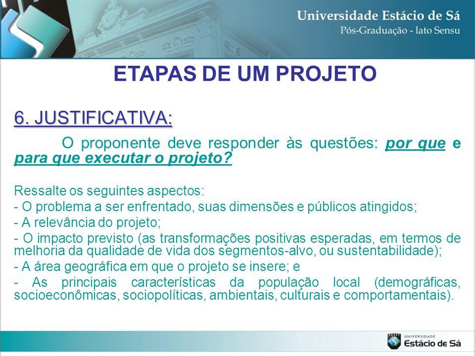 ETAPAS DE UM PROJETO 6. JUSTIFICATIVA: