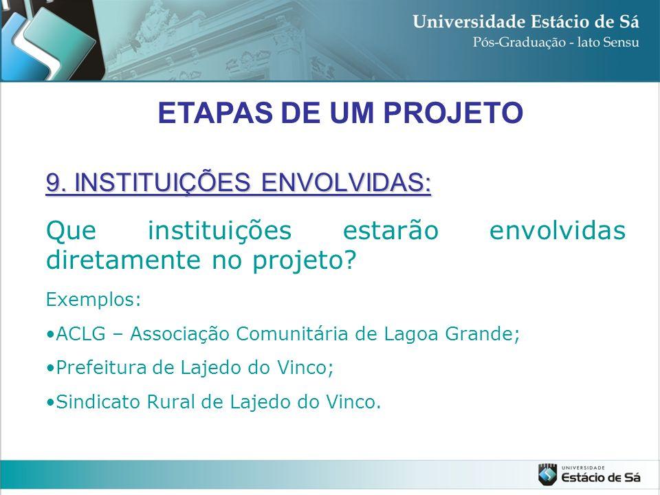 ETAPAS DE UM PROJETO 9. INSTITUIÇÕES ENVOLVIDAS: