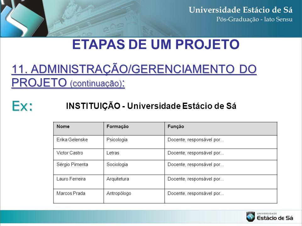 ETAPAS DE UM PROJETO Ex: