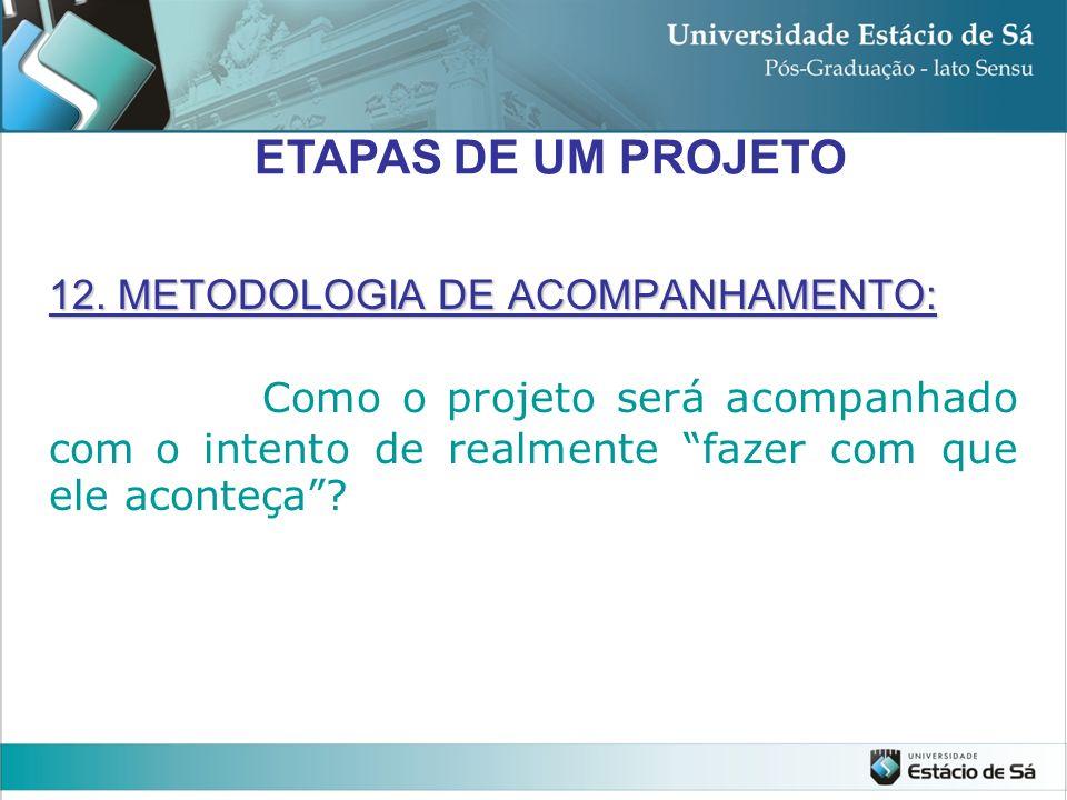 ETAPAS DE UM PROJETO 12.