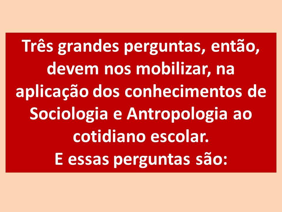 Três grandes perguntas, então, devem nos mobilizar, na aplicação dos conhecimentos de Sociologia e Antropologia ao cotidiano escolar.