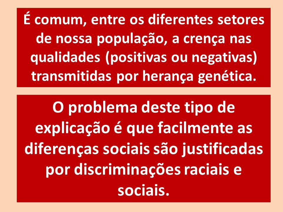 É comum, entre os diferentes setores de nossa população, a crença nas qualidades (positivas ou negativas) transmitidas por herança genética.