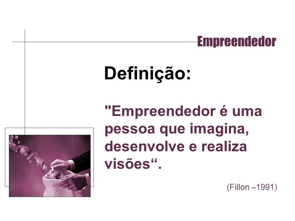 Empreendedor Definição: Empreendedor é uma pessoa que imagina, desenvolve e realiza visões .